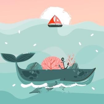 Летнее время иллюстрация красоты кит в океанских волнах, парус, закат сцены, изолированные на синем фоне