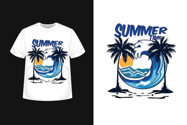 波のある夏の時間イラスト t シャツ デザイン
