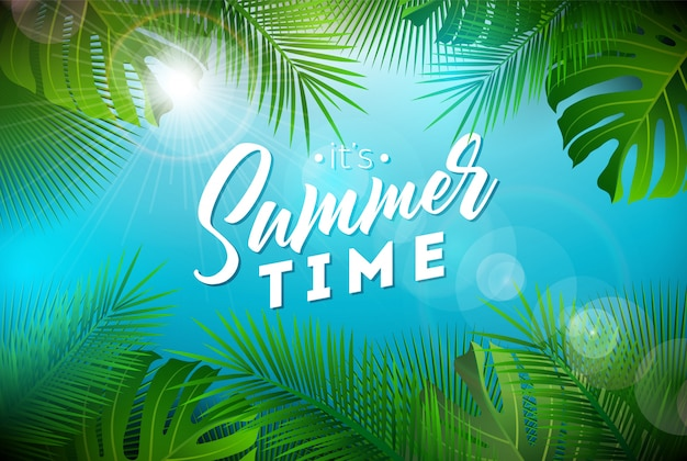 Summer time illustration with exotic palm leaves