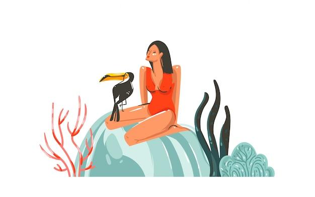 Летнее время иллюстрация с девушкой, птица тукан на пляже, изолированные на белом фоне