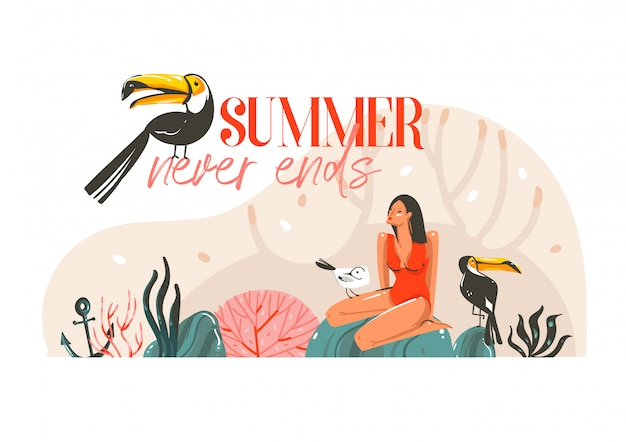 Summer time  illustration with girl, toucan birds on beach scene and modern typography summer never ends isolated on white background