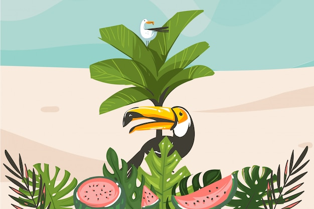 Summer time  illustration with ocean beach landscape, tropical palm tree and exotic toucan bird