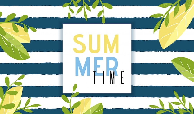 Summer time invitation banner in cartoon natural style