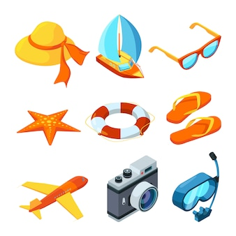 Summer time isometric accesories