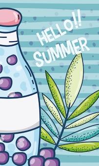 かわいい漫画と夏の時間のジュースカード