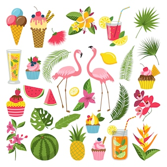 Summer time labels set for tropical party. different icons in flat style.