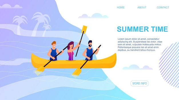 Summer time landing page offering to spend active vacation