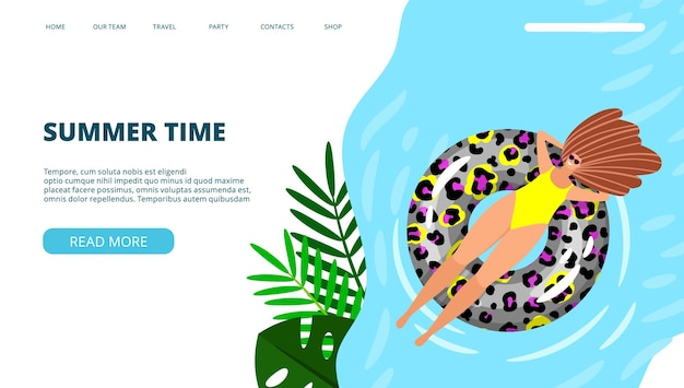 Summer time landing page. woman on sea or pool.