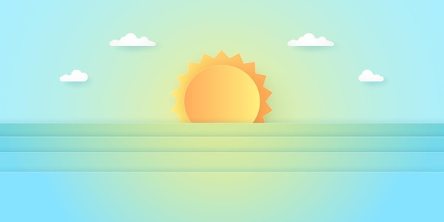 여름 시간, 풍경, 밝은 태양이 있는 흐린 하늘, 종이 예술 스타일