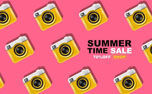 夏時間、カメラパターン、バナー、イラストを使用したレイアウトデザイン
