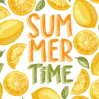 Summer time lettering and lemon