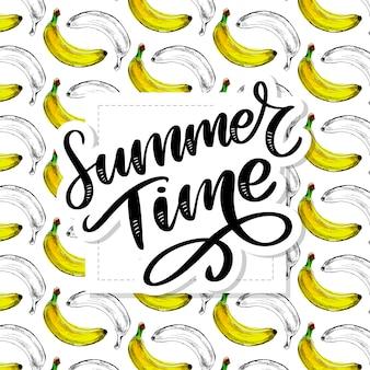 Summer time lettering, seamless banana pattern.