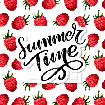 Summer time lettering, watercolor pattern with funny raspberries on the white background
