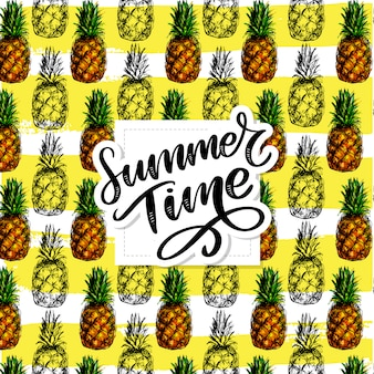 Summer time lettering with pineapple pattern