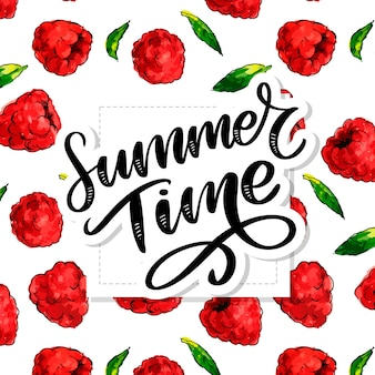 Summer time lettering with raspberries aquarelle. hand-drawn illustration