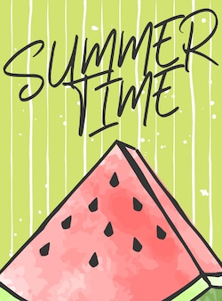 Summer time lettering with watermelon