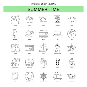 Summer time line icon set - 25 dashed outline style