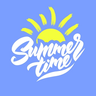 Summer time logo with the sun on a blue background.