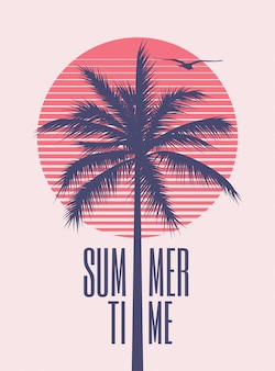 Summer time minimalistic vintage styled poster design template with palm silhouette and red sun on background for summer party or event. illustration
