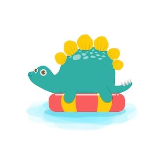 インフレータブルに浮かぶ水泳とゴムリング恐竜漫画のかわいい恐竜の赤ちゃんの夏の時間