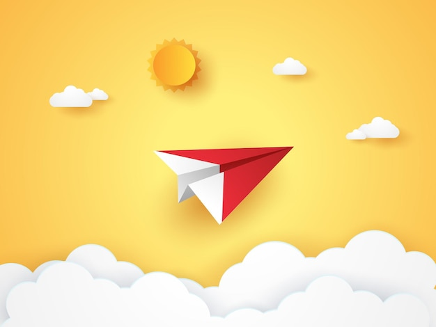 Summer time , origami plane flying in the sky , paper art style