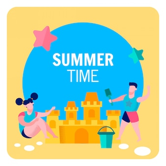 Summer time outdoor games flat banner template