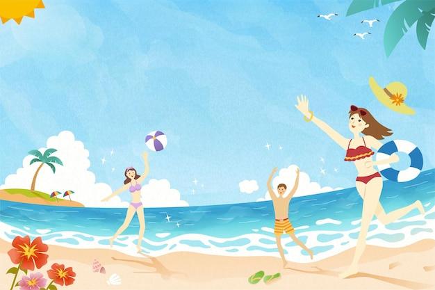 여름 시간 사람들이 해변에서 놀고 낙서