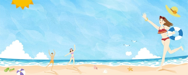 Summer time people playing at the beach doodle