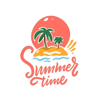 Summer time phrase and palm tree, sunset and sand. colorful vector illustration. isolated
