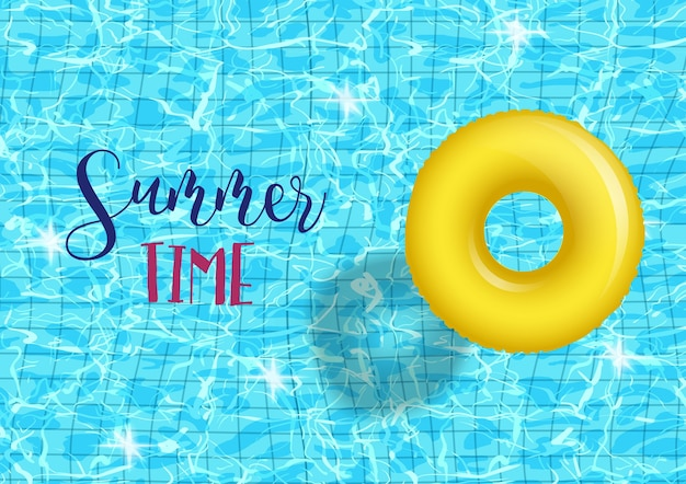 Summer time pool party poster template with blue pool rippled water background with yellow inable ring.