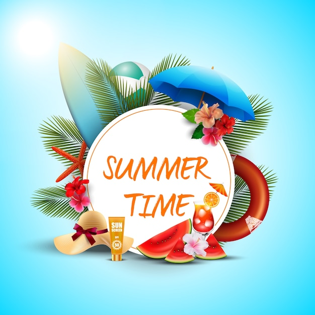 Summer time poster design with white round and beach elements