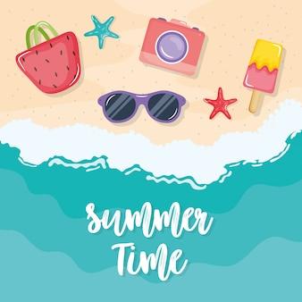 夏の時間ポスター、休日のアイコン