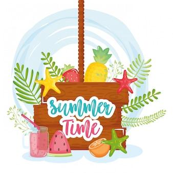 木製ラベルとアイコンの夏の時間ポスター