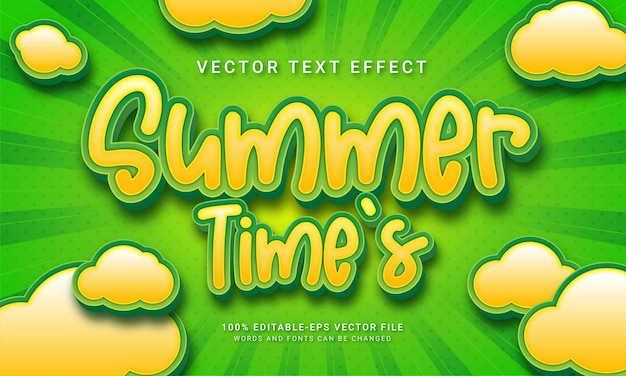 Summer time's  3d text style effect themed summer holiday