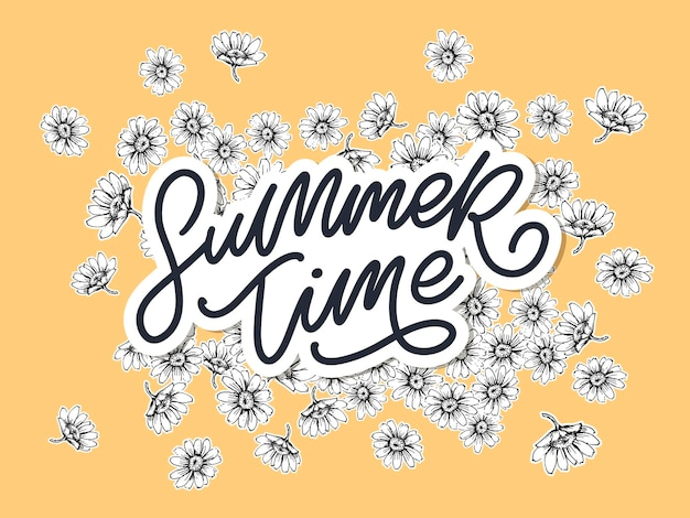 Summer time sale banner with flowers