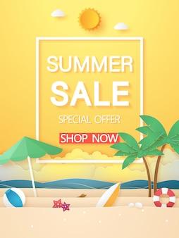 夏の時間、ココナッツの木などの海とビーチ、ペーパーアートスタイル