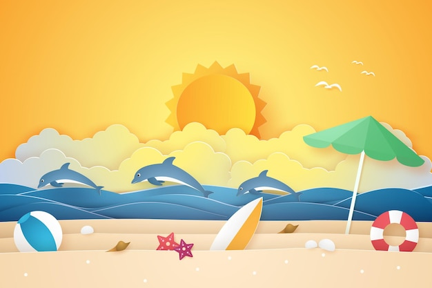 夏の時間、イルカやものと海とビーチ、紙のアートスタイル