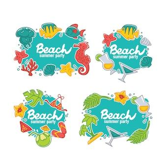 Summer time and sea life tag set