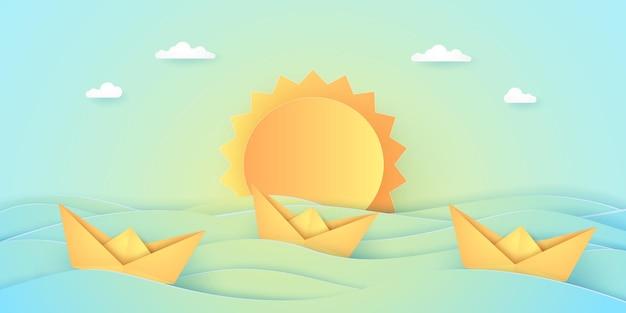 여름 시간, 종이접기 보트와 태양이 있는 바다, 종이 예술 스타일