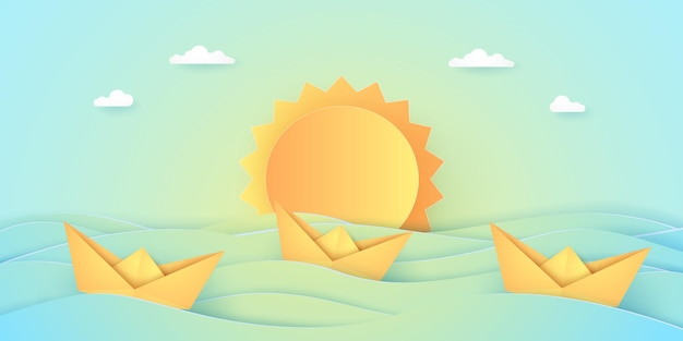 Summer time, sea with origami boat and sun, paper art style