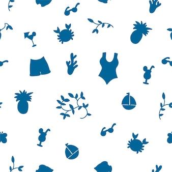夏のシームレスなパターン。さまざまなオブジェクトのシルエットのベクトル図