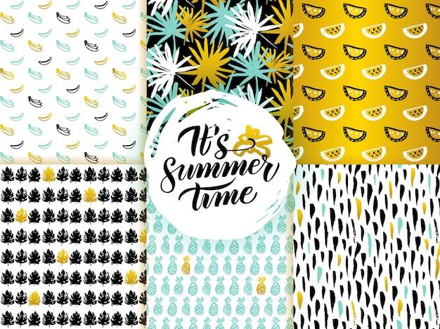 여름 시간 완벽 한 패턴입니다. 자연 타일 배경 벡터 일러스트 레이 션.