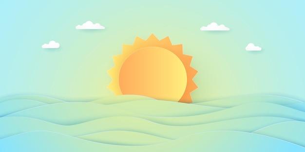 여름 시간, 바다 경치, 밝은 태양과 바다가 있는 흐린 하늘, 종이 예술 스타일