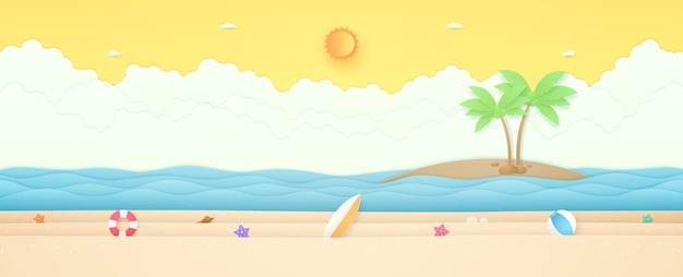Summer time seascape landscape balloon summer stuff on beach with sea and coconut tree on island