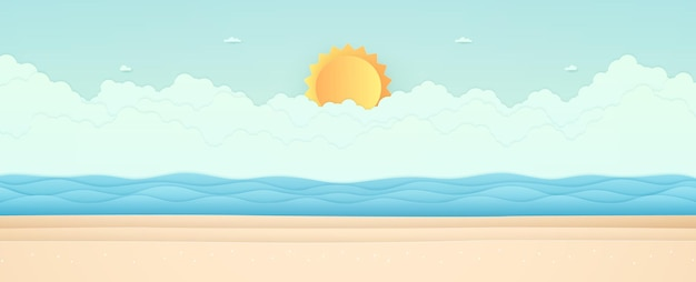 Summer time, seascape, landscape, blue sea with beach, cloud and bright sun, paper art style
