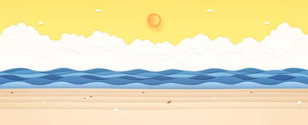 Summer time seascape landscape blue wavy sea with stone and shellfish on beach sun and sunny sky