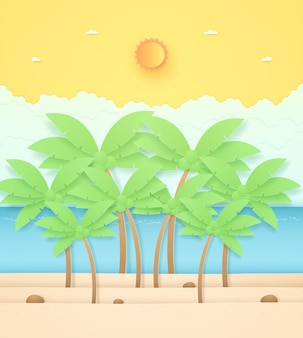 Summer time seascape landscape coconut trees and stone on beach with seasun and orange sunny sky