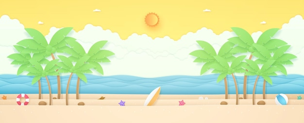 Summer time seascape landscape coconut trees and summer stuff on beach with wavy sea bright sun