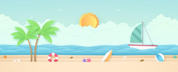 Summer time, seascape, landscape, sailboat with sea, beach and stuff, cloud, sun, paper art style