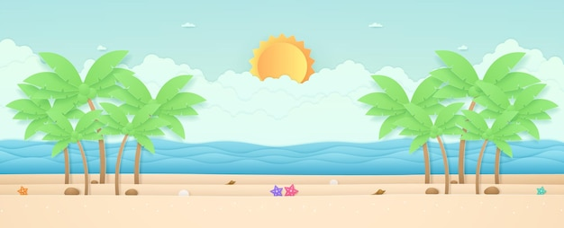 Summer time seascape landscape starfish and coconut trees on the beach with sea sun in the sky